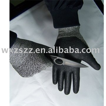 Safety gloves, anti-oil glove, Tuffalene cut resistant fibre glove with foam nitrile coated