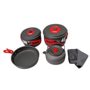 7 Pcs/Set Ultralight Portable Aluminum Outdoor Camping Hiking Cookware Cooking Picnic Pot With Teapot Dishcloth