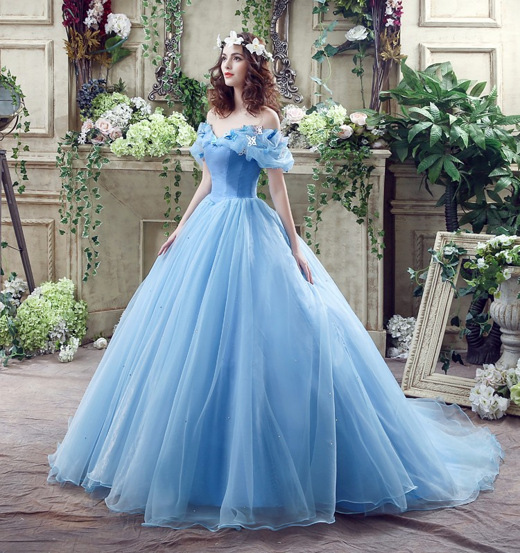 Princess Ball Gown Off The Shoulder Blue Cinderella Wedding Dress ...