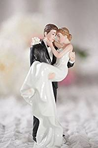 Wedding Collectibles Personalized Groom Holding Bride Traditional Cake Topper Figurine: Bride Hair: BROWN - Groom Hair: BROWN