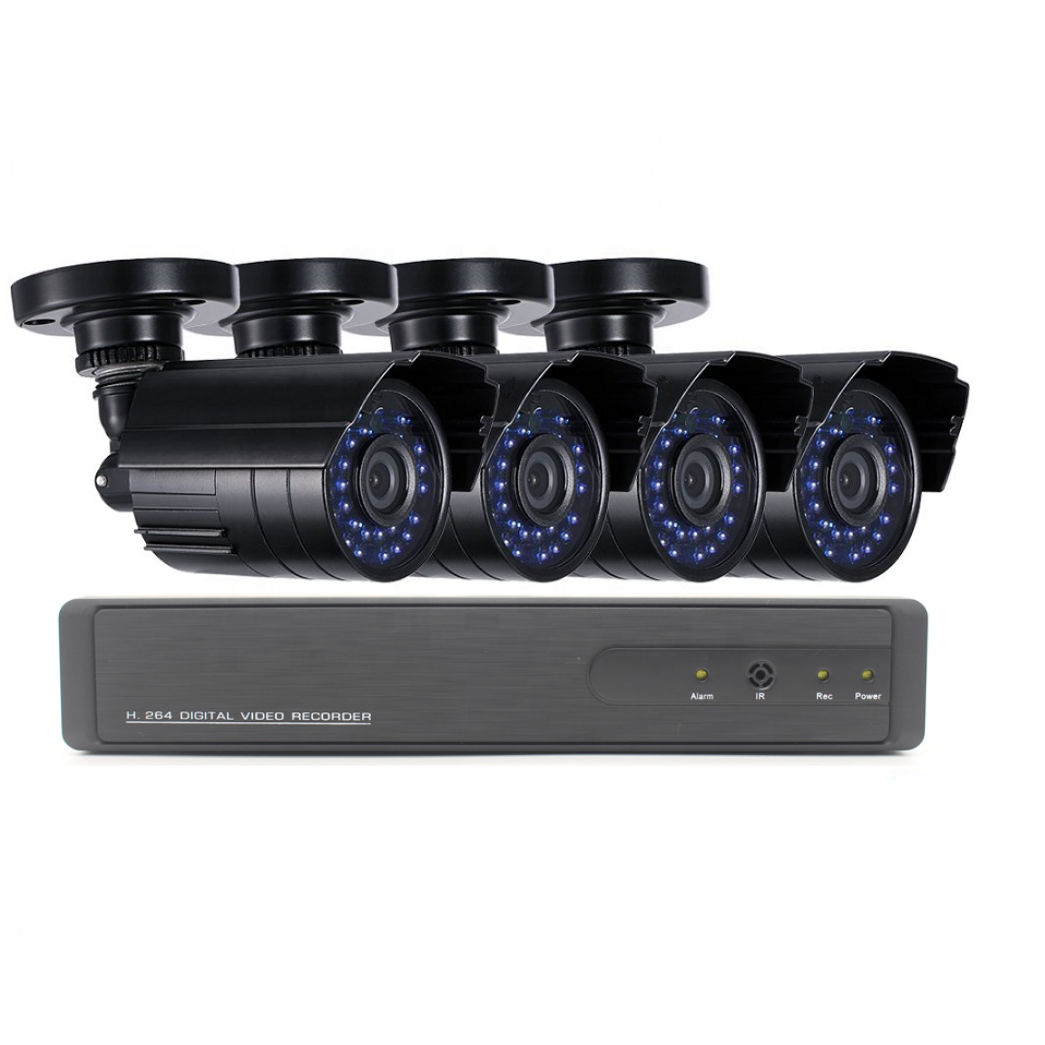 Hybrid DVR Security System ahd camera cctv kit AHD TVI CVI NVR with 4 720p Outdoor Bullet Camera
