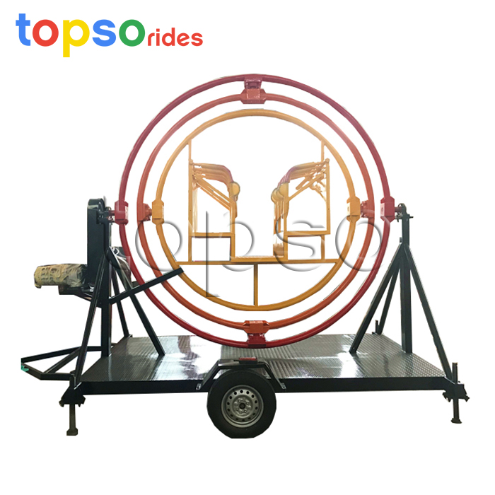 Hot Sale Mobile Park Rides Portable Human Gyroscope Amusement Rides With Trailer, Customized color