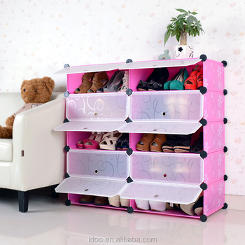 Outside Cardboard Shoe Storage 10 Cubes Pink Color Shoe Cabinet  (FH AW151012 10