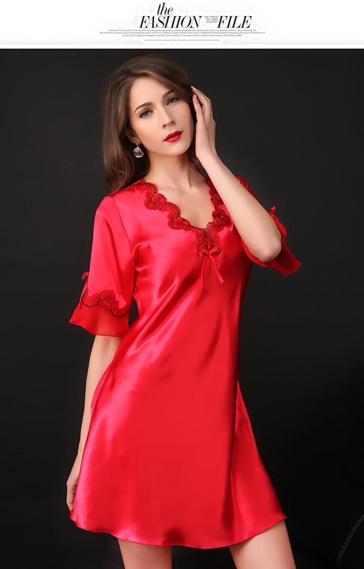 2019 Wholesale Nightgown Pijama Victoria Sexy Silk Night Dress Lace ... 419b0e944