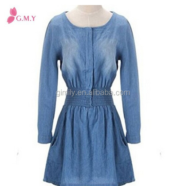 Women tight waisted Pleated Long Sleeve jeans dresses