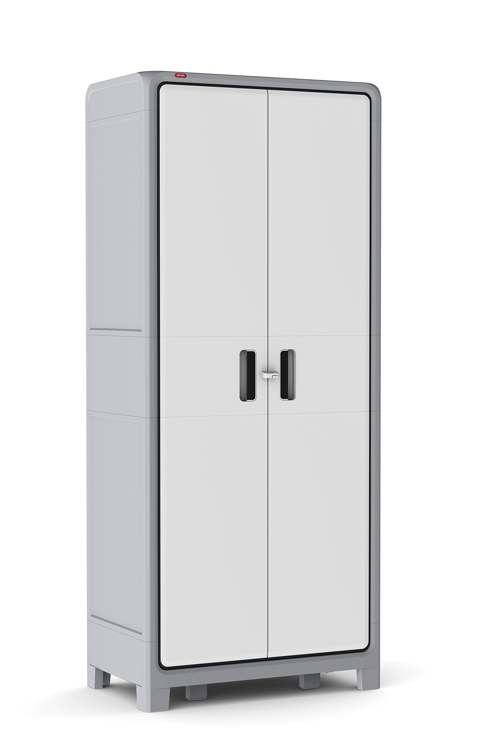 Keter Optima Wonder 72 x 31 x 18 in. Free Standing Plastic Tall Storage Cabinet with 4 Adjustable Shelves, White & Grey