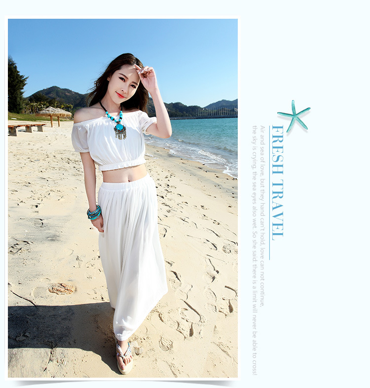 8990e8cace Hot 2015 Women Chiffon Long Summer Beach Dress Sexy White Off Shoulder Two  Piece Dress Suits White Long Sundress Beach Tunics
