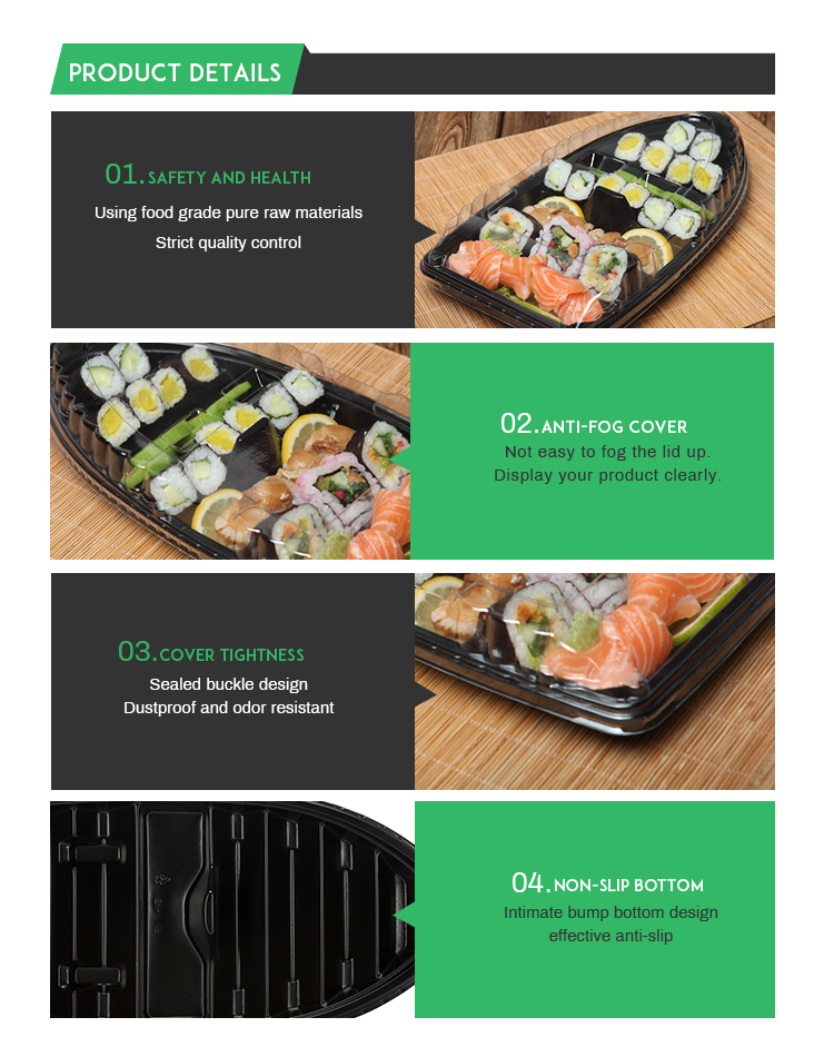 Plastic To Go Food Packaging Disposable Shape Sushi Boat Boxes