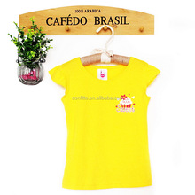girls baby wholesale t shirts yellow plain t-shirt kids clothes thailand