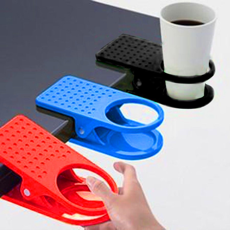 Home Office Plastic Drink Coffee Mug Cup Holder Clip Desk Cup Holder