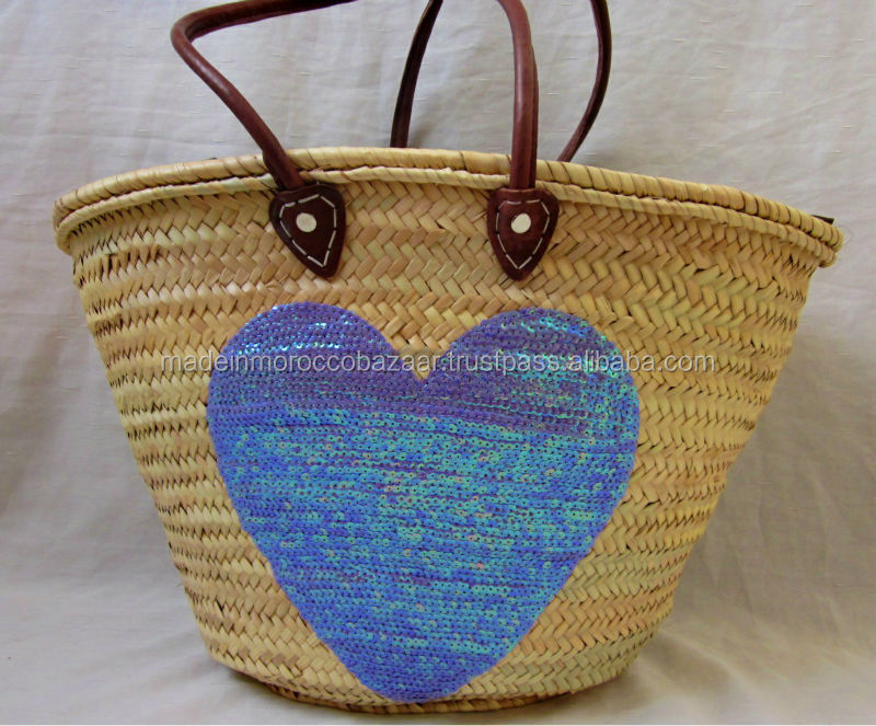 Pretty Hand Sewn Sequinned Purple Heart Straw Wicker Basket