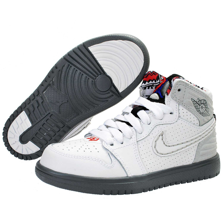 937783f5974186 Get Quotations · Jordan Retro 1  93 White White-True Red-Neutral Grey  (Little