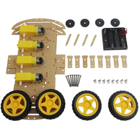 4WD Double Layers Smart Car Robot Chassis for Arduinos with 4pcs Gear Motor and 4pcs Tire Wheel