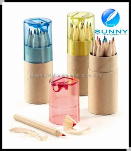 high quality promotional wooden short color pencil with sharpener