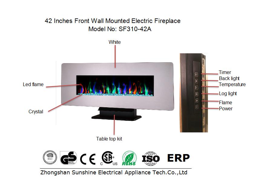 무료 서 장식 불꽃 히터 Wtih 전자 불꽃 리갈 벽 마운트 벽난로 전자 벽난로