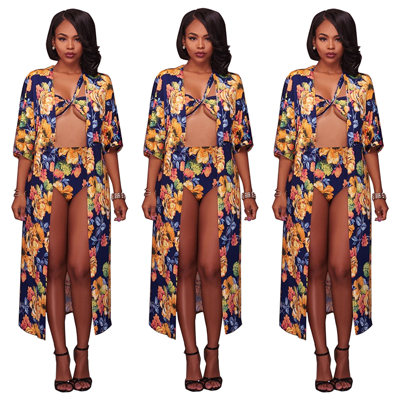 Women's Sexy Three Pieces Swimsuit Floral Printed Bikini <strong>Swimwear</strong> Bathing Suit <strong>Beachwear</strong>