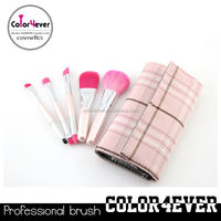Distributor!Top quality 5pcs double end pink makeup brushes set light up the world color trend eyeshadow palette make up