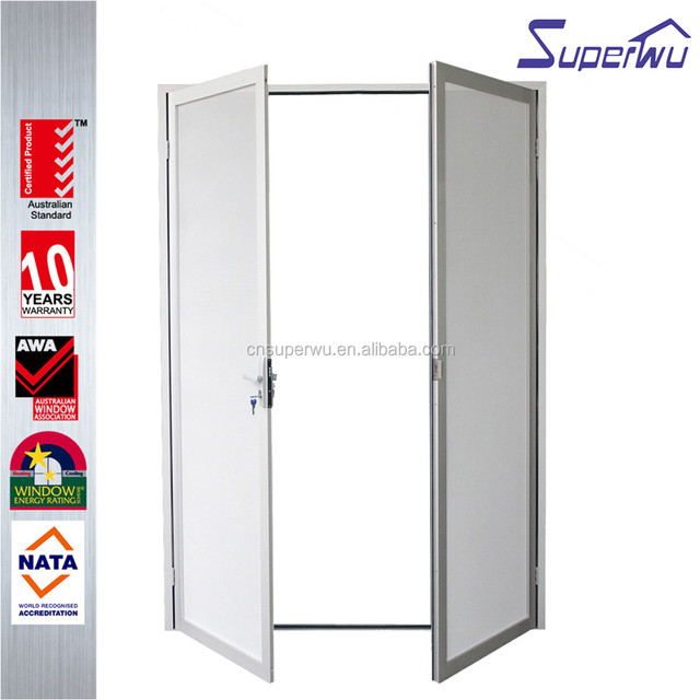 China Product Commercial Interior Swing Casement Doors With Glass Inserts