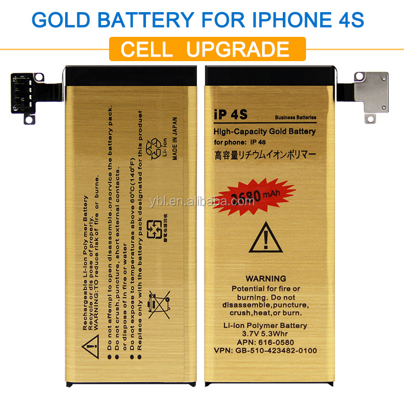 Brand New Good Quality High Capacity Gold battery bateria ip4s Mobile Phone Battery for iPhone 4S Battery