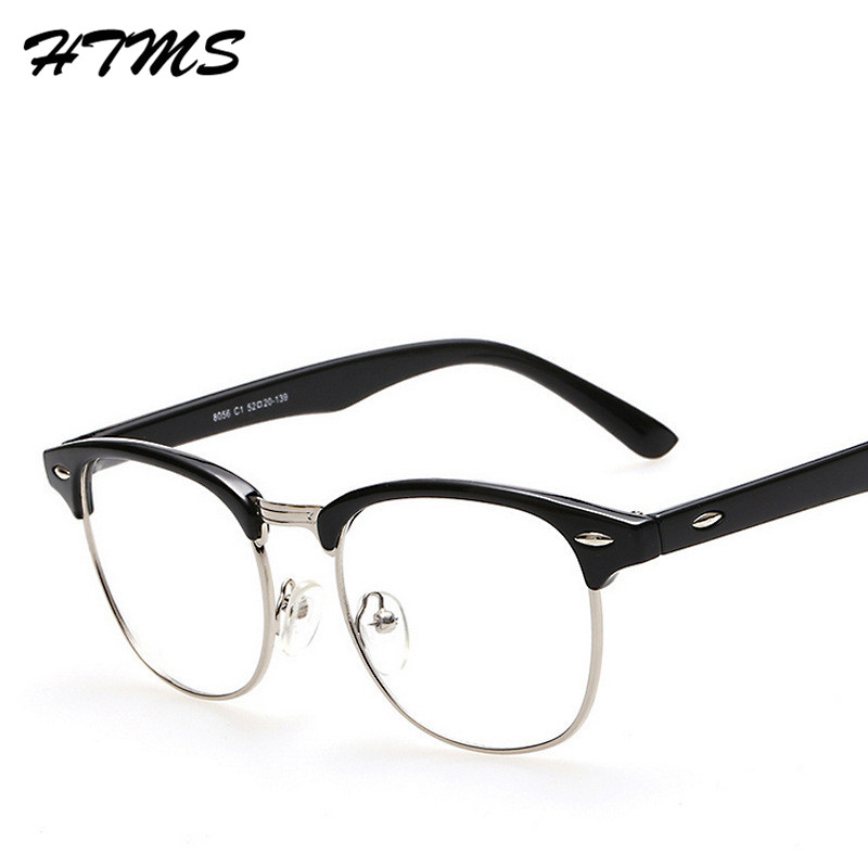 f7c1dbc33568 Fashion Metal Half Frame Glasses Frame Retro Woman Men Reading Glass UV  Protection Clear Lens Reading