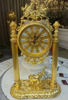 Antique Clock, Art Gold Royal Clock, Luxury 24K Gold Plated Copper Table Clock