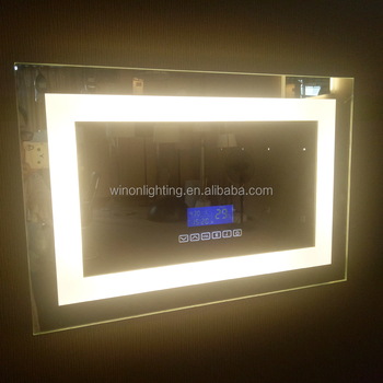 Hotel Bathroom Decorative Lighted Mirror With Touch Switch/clock ...