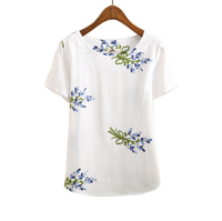 New summer top vintage embroidery floral ladies t shirt women tops womens clothing plus size woman clothes