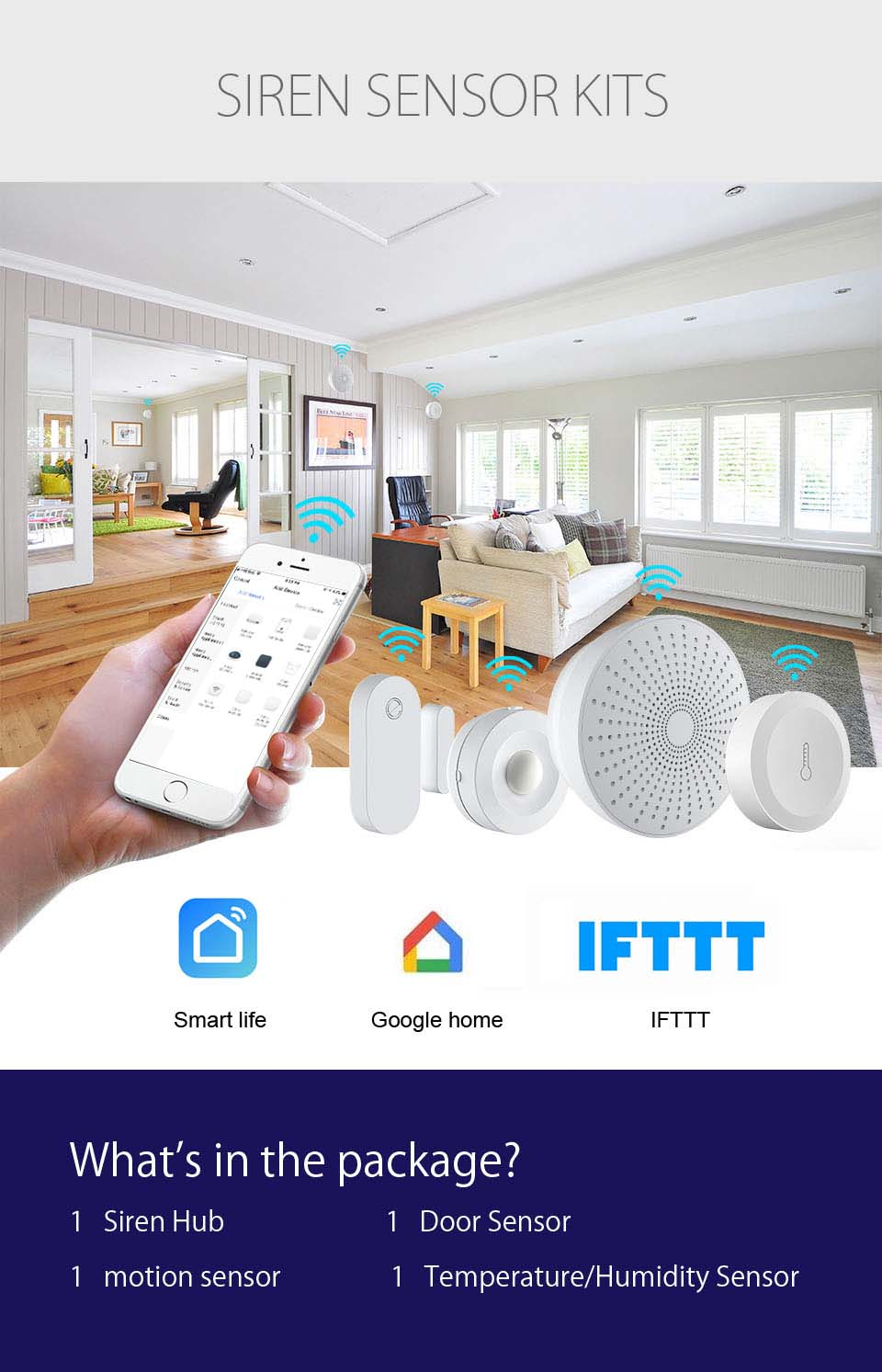 HH Anti-Theft  Motion Alarm, Indoor Smart PIR Sensor For Motion Detector
