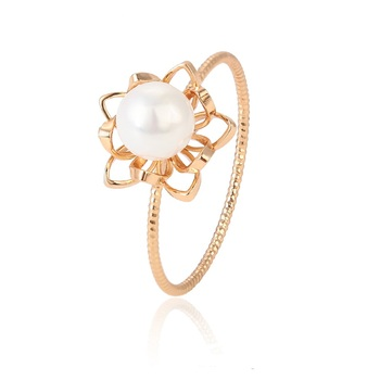 15430 xuping  jewelry fashion 18k gold plated finger pearl  ring for women