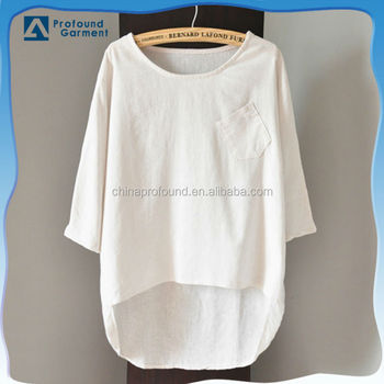5220168d Cotton Linen 3/4 Sleeves Pocket Short Front Long Back Short Women T Shirt -  Buy Short Front Long Back T Shirt,3/4 Sleeves T Shirt,Cotton Linen T Shirt  ...