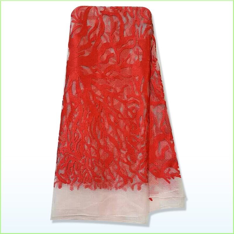 Red+white color !2015 new fashion cotton lace  embroidery cotton lace fabric for wedding dress !! L320