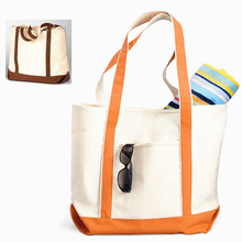 Wholesale heavy duty canvas tote bag with outside pockets