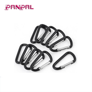High Quality Aluminum Alloy D Shaped Snap Clip Key Chain Carabiner Black Hook