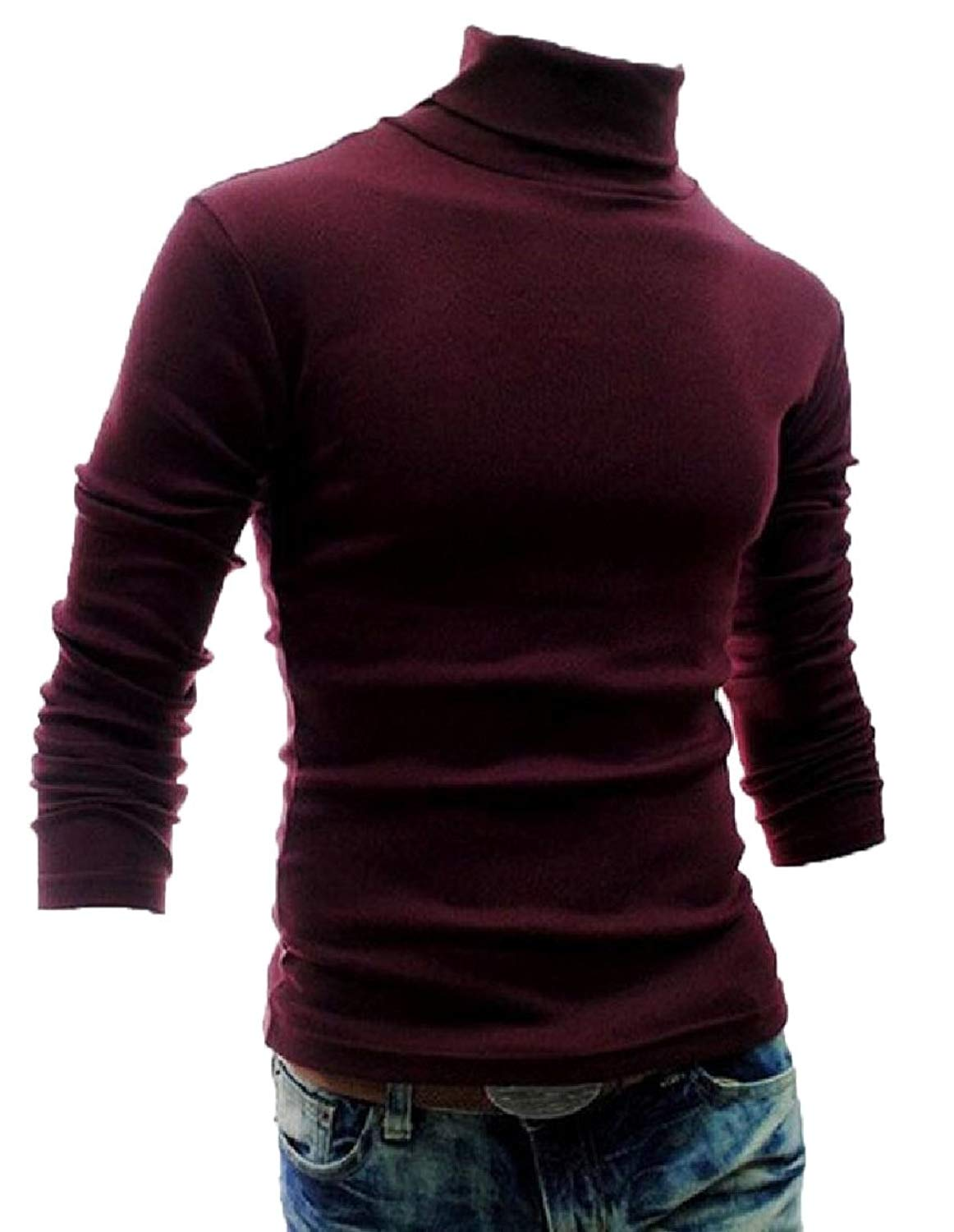 XQS Mens Slim Fit Basic Thermal Turtleneck Pullover Sweaters