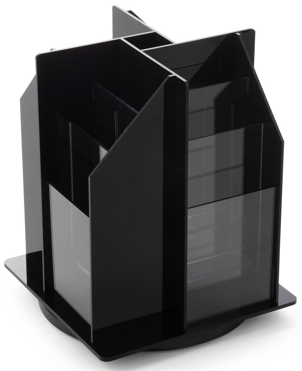 Displays2go Spinning Tabletop Brochure Holder for 4 x 9 Literature, 12 Tiered Pockets, 360 Degree Rotating Design for Countertop Use, Black Acylic (TT12)