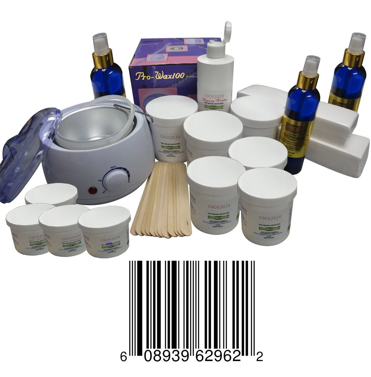 Sugaring Start up Big Kit , 1 Sugar Wax Warmer + 6 Jars of 22 Oz Each Standard Sugaring Hair Removal 100% Natural Paste (Standard Sugaring to Use with Hands or Spatula or Strips) + 3 Jars of 12 Oz Each of Soft Sugaring (To Use with Strips) + 1 Jar 12 Oz of Solid Sugaring + 12 Wood Spatulas + 8 Oz