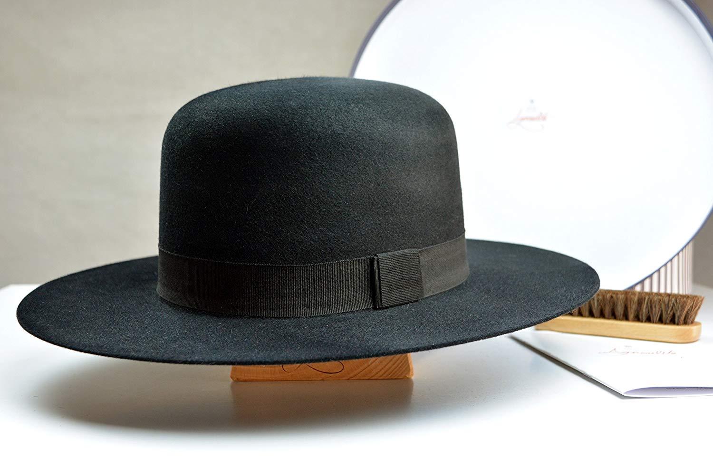 Get Quotations · The Billy J Tiller- Black Rabbit Fur Felt Round Crown Fedora  Hat - Wide Brim c5f888b0a857