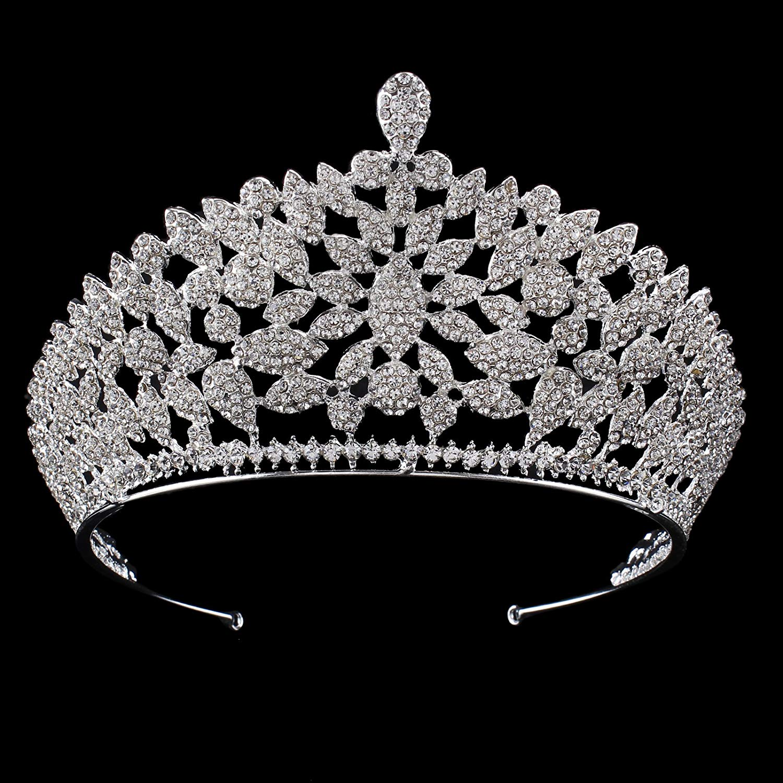 Get Quotations · Santfe 3    Tall Royal Bridal Crystal Silver Wedding Crown  Rhinestone Tiara Wedding Tiara Diamante 89c4e0cb8369