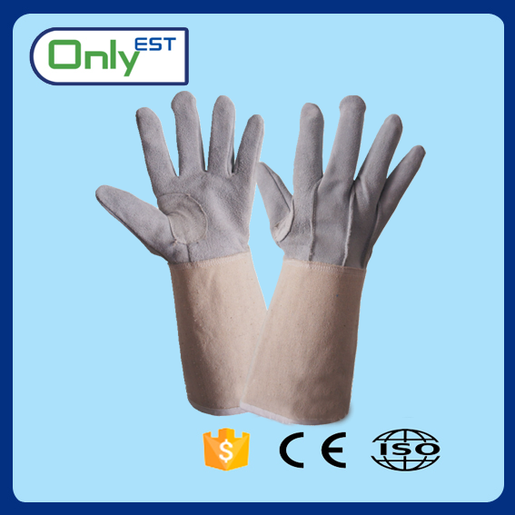 Safety cow split leather welding gloves bbq gloves heat resistant cooking gloves