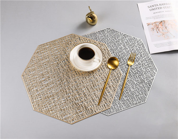 New Arrival Creative Octagonal Hollow Heat-insulation Pad Pure Color contracted Anti-skid PVC Placemats
