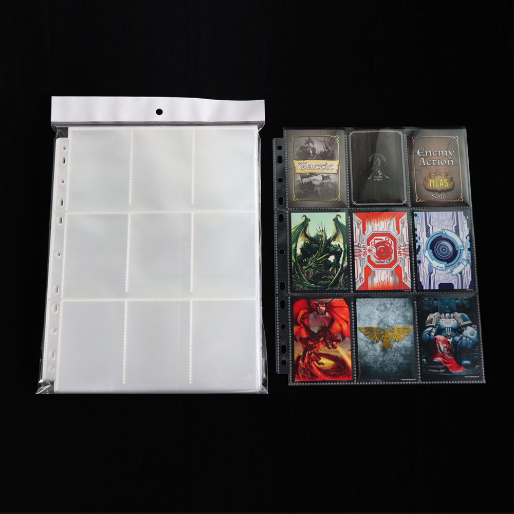PP010 Clear Top Loading 9 Pocket Pages, PP Pocket Page Protectors Sleeves 500counts per box