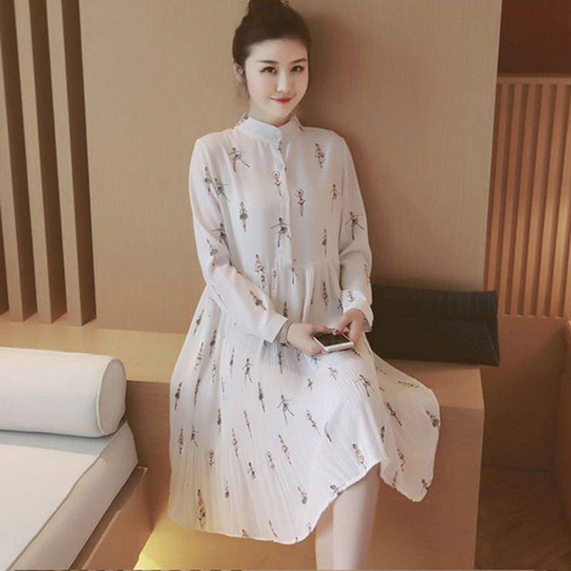 d1df6e0ca5ad8 لطيف أنيقة الأمومة الملابس الحمل الصيف فستان أبيض طويل الأكمام الشيفون  الحوامل التمريض الملابس لل نساء