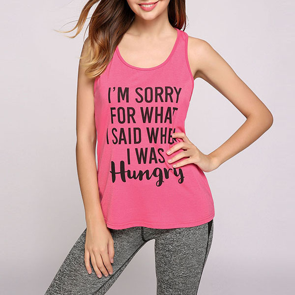 women soft smooth cotton printed letter athletic tank top