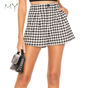 Custom Women Gingham Shorts White and Black Plaid Pleated Shorts