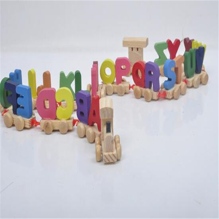 FQ brand wholesale colorful hot sale new style educational model letter small train wooden toys set wooden happy kid toy