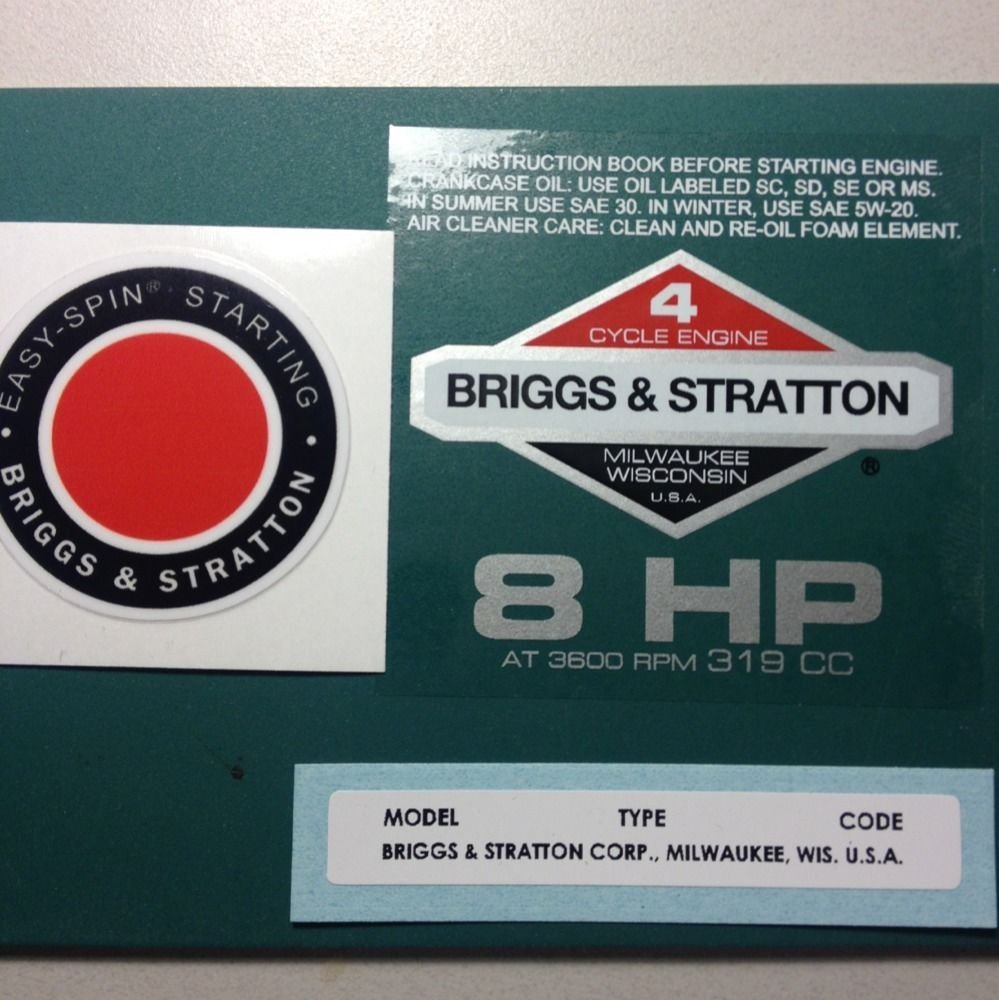 Get Quotations · Briggs & Stratton 8Hp Sticker Decal Set 1978 1980 W/ Easy  Spin Troy Bilt Horse