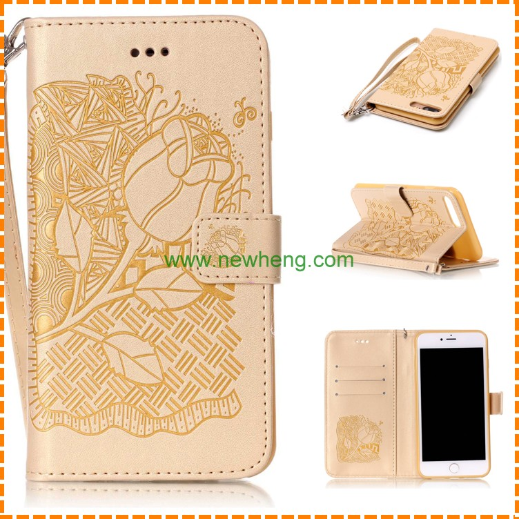Retro Flower Embossment Pattern stand flip Pu tpu Leather case for Iphone 6 plus