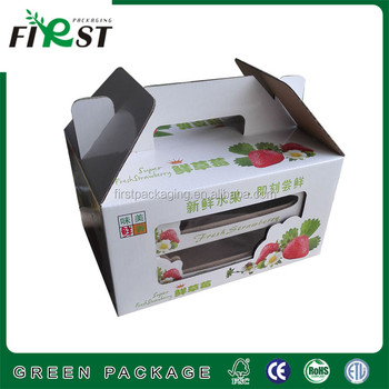 Fruit Packaging box Paper Strawberry Packing Box With clear PVC Window
