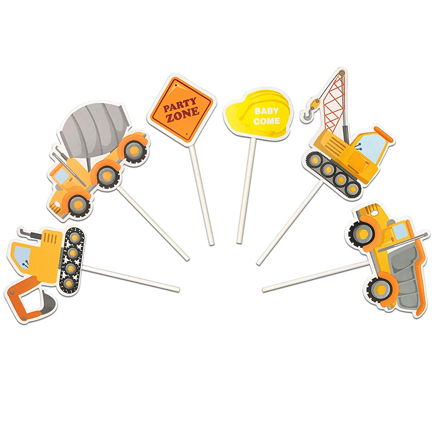 Construction Vehicles Truck Sign Hard Hat Cake Cupcake Toppers Picks for Birthday Wedding Baby Shower Construction Theme Party Decorations 18 PCS