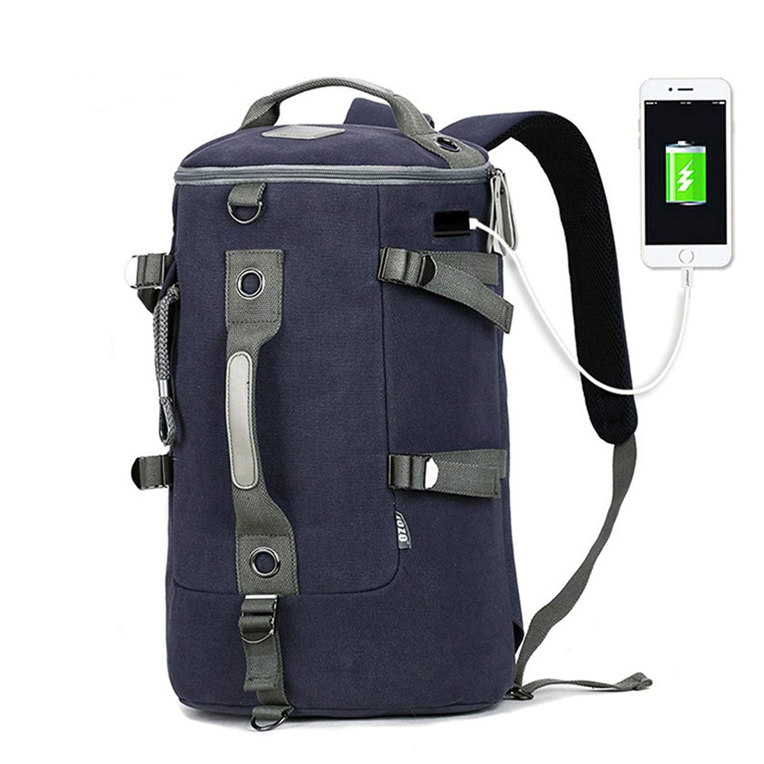 6b26290535 Get Quotations · Vbiger Canvas Duffel Backpack Vintage Weekend Travel Duffel  Bag Hiking Rucksack with USB Charging Port